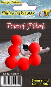 Fishing Tackle Max Trout Pilots Rond 8mm Rood