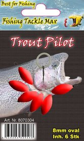 Fishing Tackle Max Trout Pilots Ovaal 8 mm Rood