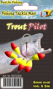 Fishing Tackle Max Trout Pilots Ovaal 8 mm Rood/Geel